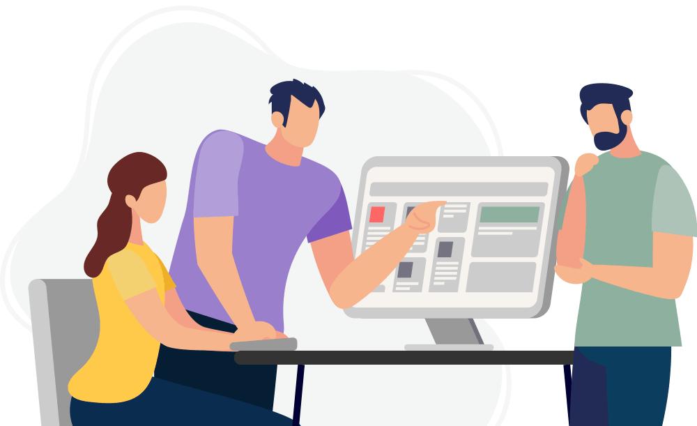 Illustration of team working together
